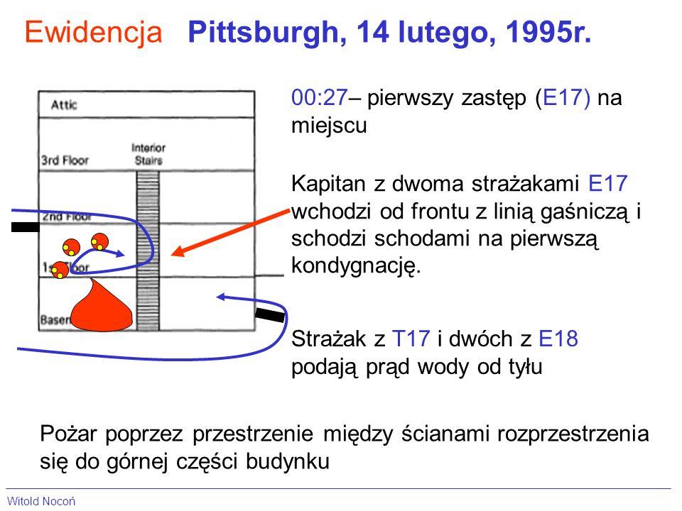 EwidencjaPittsburgh, 14 lutego, 1995r. 00:27– pierwszy zastęp (E17) na miejscu Kapitan z dwoma strażakami E17 wchodzi od frontu z linią gaśniczą i sch