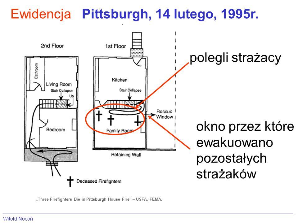 EwidencjaPittsburgh, 14 lutego, 1995r. Three Firefighters Die in Pittsburgh House Fire – USFA, FEMA. polegli strażacy okno przez które ewakuowano pozo
