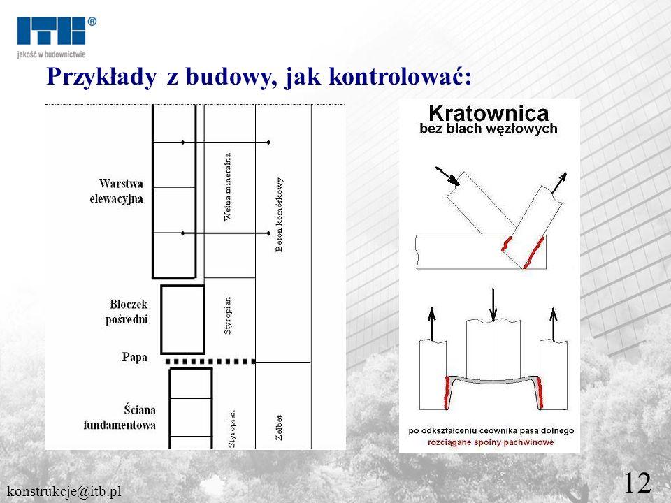 12 Przykłady z budowy, jak kontrolować: konstrukcje@itb.pl