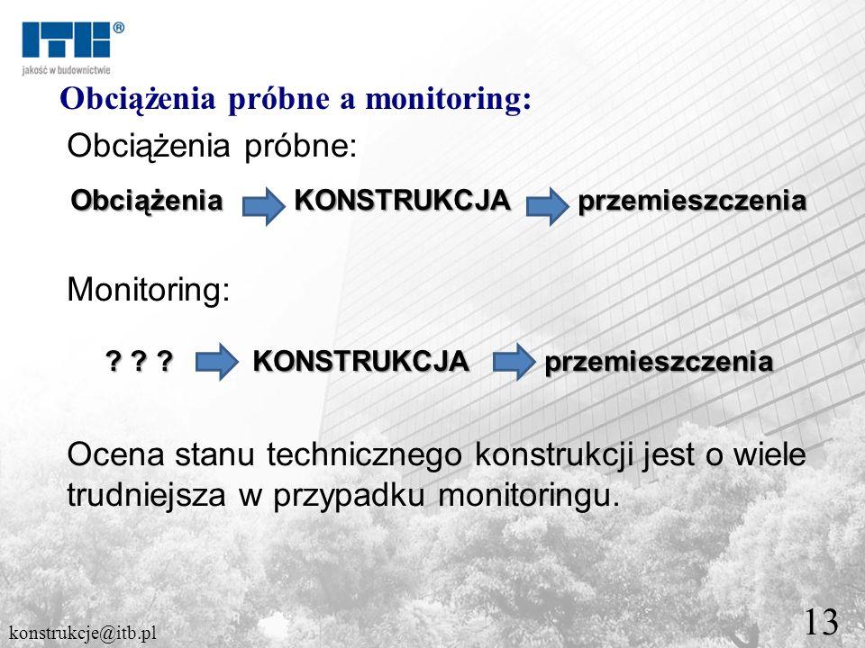 13 Obciążenia próbne a monitoring: Obciążenia próbne: Obciążenia KONSTRUKCJA przemieszczenia Monitoring: ? ? ? KONSTRUKCJA przemieszczenia Ocena stanu