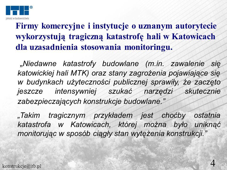 4 Firmy komercyjne i instytucje o uznanym autorytecie wykorzystują tragiczną katastrofę hali w Katowicach dla uzasadnienia stosowania monitoringu. Nie
