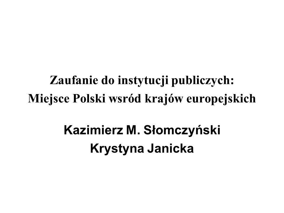 Zaufanie do instytucji publiczych: Miejsce Polski wsrόd krajόw europejskich Kazimierz M. Słomczyński Krystyna Janicka