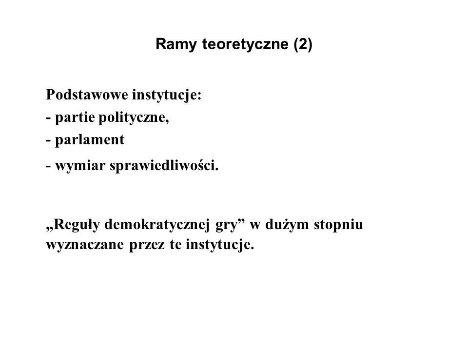 Ramy teoretyczne (2) Podstawowe instytucje: - partie polityczne, - parlament - wymiar sprawiedliwości. Reguły demokratycznej gry w dużym stopniu wyzna