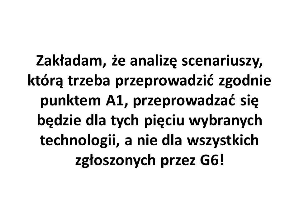 Zakładam, że analizę scenariuszy, którą trzeba przeprowadzić zgodnie punktem A1, przeprowadzać się będzie dla tych pięciu wybranych technologii, a nie
