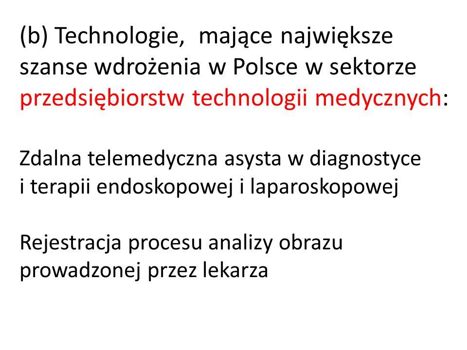 (b) Technologie, mające największe szanse wdrożenia w Polsce w sektorze przedsiębiorstw technologii medycznych: Zdalna telemedyczna asysta w diagnosty