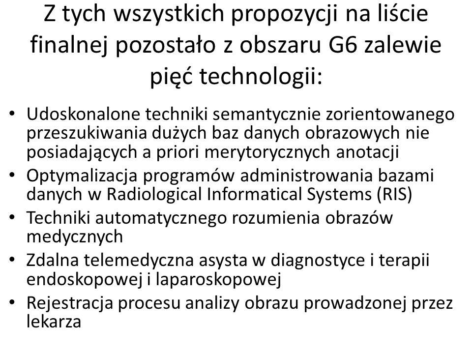 Z tych wszystkich propozycji na liście finalnej pozostało z obszaru G6 zalewie pięć technologii: Udoskonalone techniki semantycznie zorientowanego prz