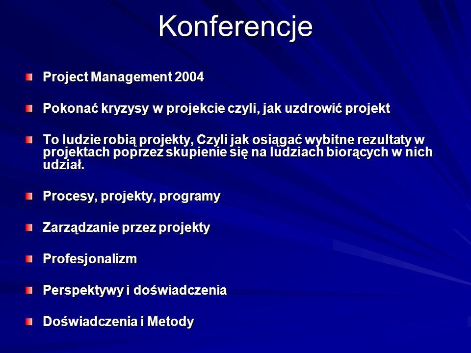 Konferencje Project Management 2004 Pokonać kryzysy w projekcie czyli, jak uzdrowić projekt To ludzie robią projekty, Czyli jak osiągać wybitne rezult