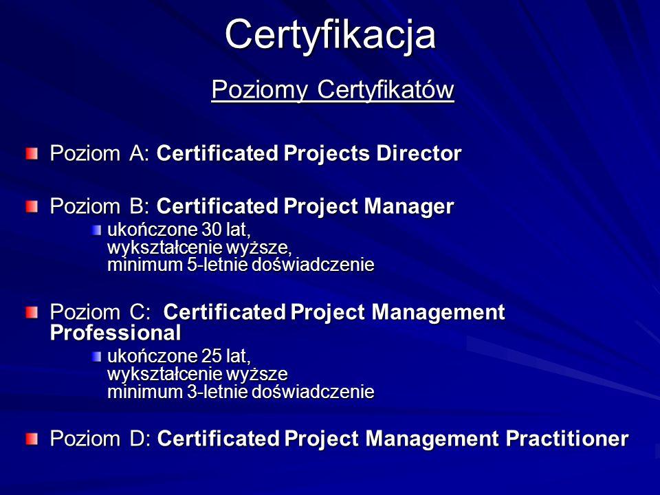 Certyfikacja Poziomy Certyfikatów Poziom A: Certificated Projects Director Poziom B: Certificated Project Manager ukończone 30 lat, wykształcenie wyżs