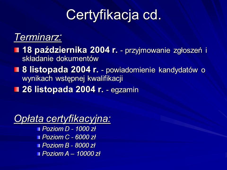 Certyfikacja cd. Terminarz : 18 października 2004 r. - przyjmowanie zgłoszeń i składanie dokumentów 8 listopada 2004 r. - powiadomienie kandydatów o w