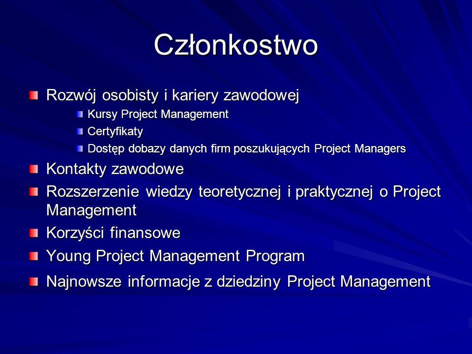 Członkostwo Rozwój osobisty i kariery zawodowej Kursy Project Management Certyfikaty Dostęp dobazy danych firm poszukujących Project Managers Kontakty
