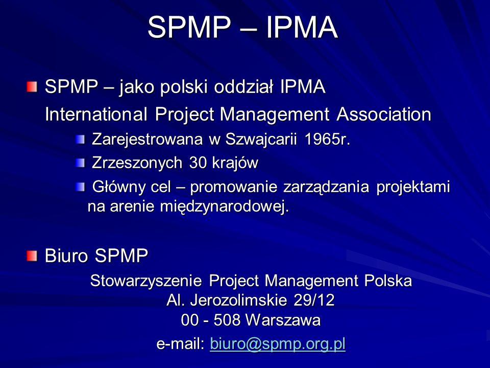 SPMP – IPMA SPMP – jako polski oddział IPMA International Project Management Association Zarejestrowana w Szwajcarii 1965r. Zarejestrowana w Szwajcari