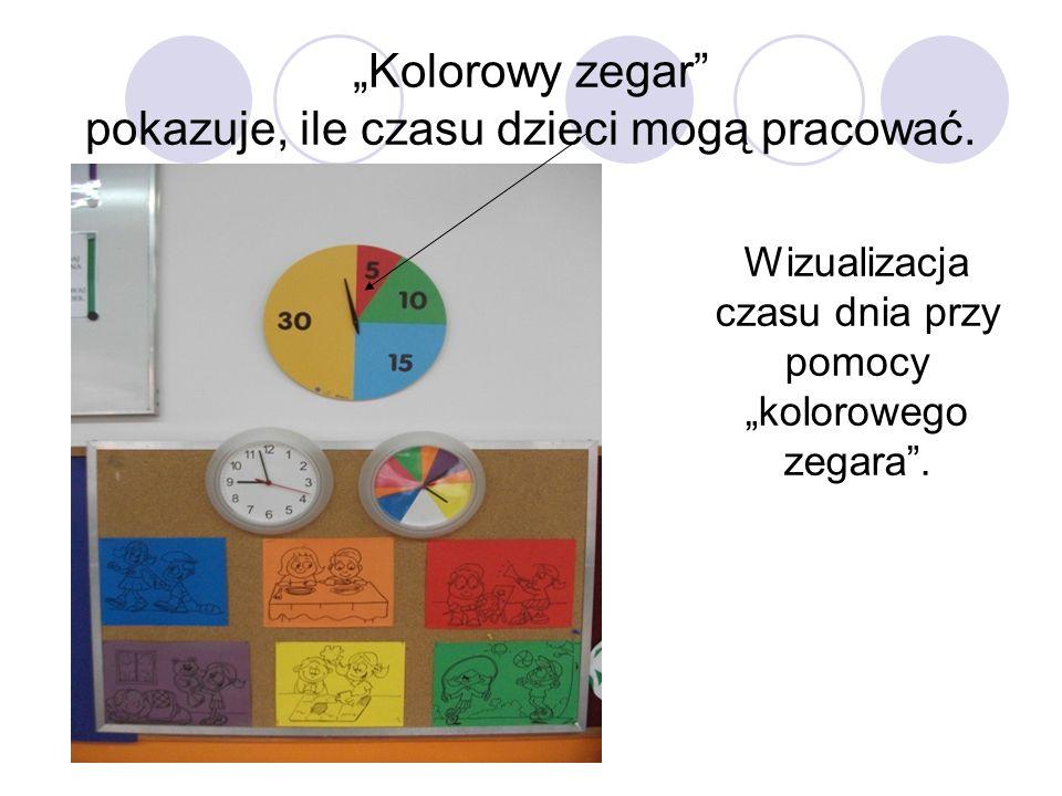 Wizualizacja czasu dnia przy pomocy kolorowego zegara. Kolorowy zegar pokazuje, ile czasu dzieci mogą pracować.