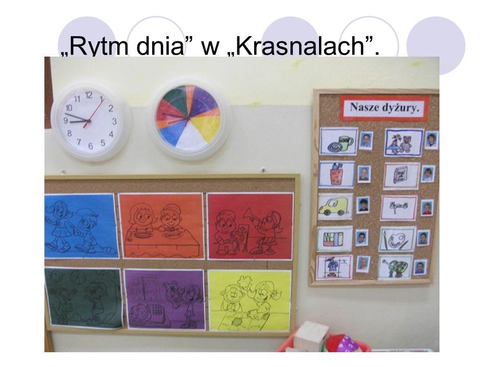Krasnale Wizualizacja czasu dnia np.spożywania posiłków przy pomocy kolorowego zegara.