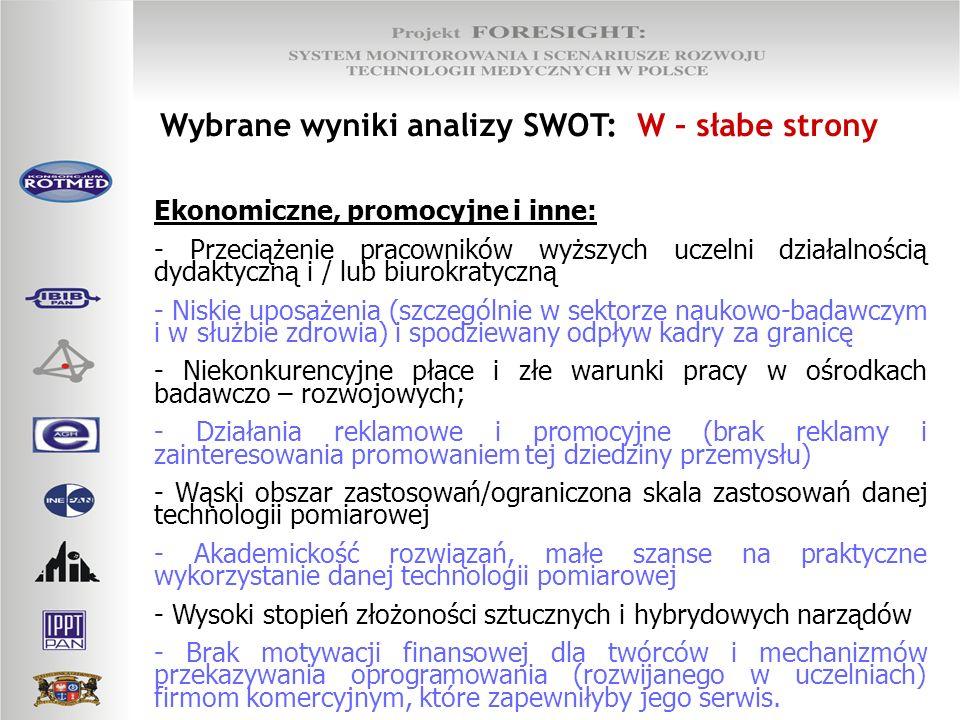 Wybrane wyniki analizy SWOT: W – słabe strony Ekonomiczne, promocyjne i inne: - Przeciążenie pracowników wyższych uczelni działalnością dydaktyczną i