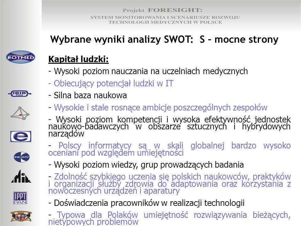 Wybrane wyniki analizy SWOT: O – szanse Rozwój technologii: - Rozwój tanich środków komunikacji medialnej (internet, intranet, poczta elektroniczna, VoIP); - Mobilność społeczeństwa i stosowanie technologii bezprzewodowej stwarza szanse na rozwój aplikacji medycznych i wbudowywanie/łączenie ich w typowe systemy powszechnego użytku (np.