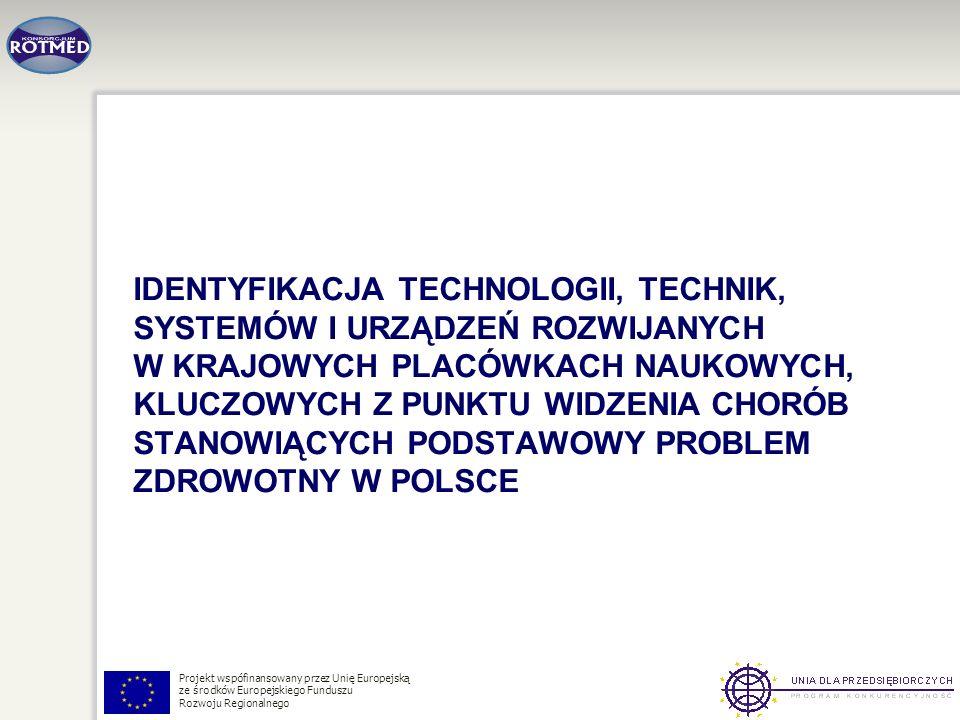 Projekt wspófinansowany przez Unię Europejską ze środków Europejskiego Funduszu Rozwoju Regionalnego IDENTYFIKACJA TECHNOLOGII, TECHNIK, SYSTEMÓW I UR