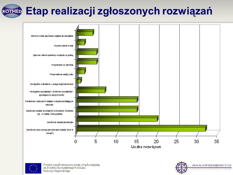 Projekt wspófinansowany przez Unię Europejską ze środków Europejskiego Funduszu Rozwoju Regionalnego Etap realizacji zgłoszonych rozwiązań