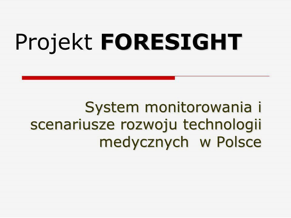Elementy realizacji projektu FORESIGHT Identyfikacja kluczowych technologii w przyszłości w zakresie technologii medycznych Ocena szans i zagrożeń dla technologii (analiza STEEP, analiza SWOT) Identyfikacja działań, które należy podjąć w celu rozwoju technologii Budowa scenariuszy