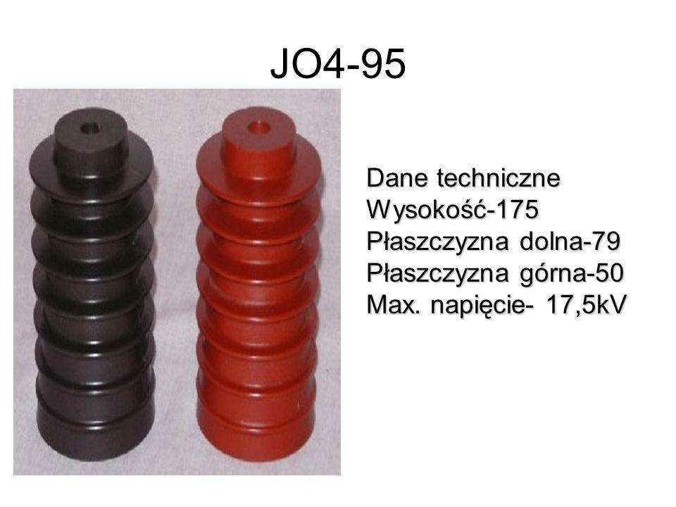 JO4-95 Dane techniczne Wysokość-175 Płaszczyzna dolna-79 Płaszczyzna górna-50 Max. napięcie- 17,5kV