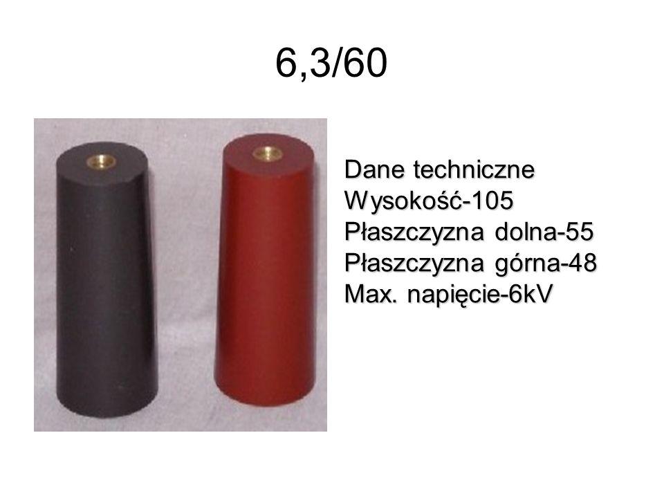 6,3/60 Dane techniczne Wysokość-105 Płaszczyzna dolna-55 Płaszczyzna górna-48 Max. napięcie-6kV