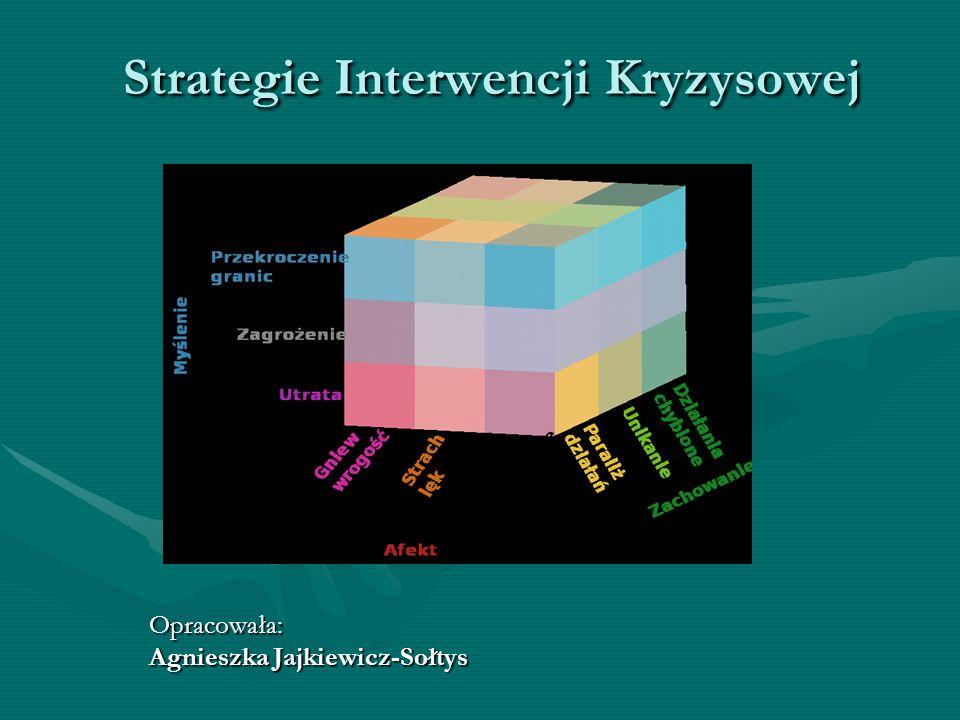 Opracowała: Agnieszka Jajkiewicz-Sołtys Strategie Interwencji Kryzysowej Strategie Interwencji Kryzysowej