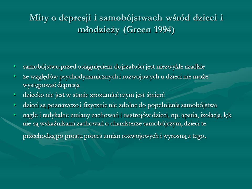 Mity o depresji i samobójstwach wśród dzieci i młodzieży (Green 1994) samobójstwo przed osiągnięciem dojrzałości jest niezwykle rzadkiesamobójstwo prz