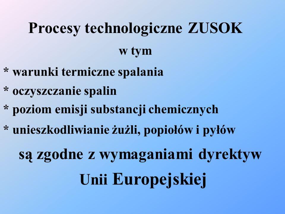 Procesy technologiczne ZUSOK w tym * warunki termiczne spalania * oczyszczanie spalin * poziom emisji substancji chemicznych * unieszkodliwianie żużli
