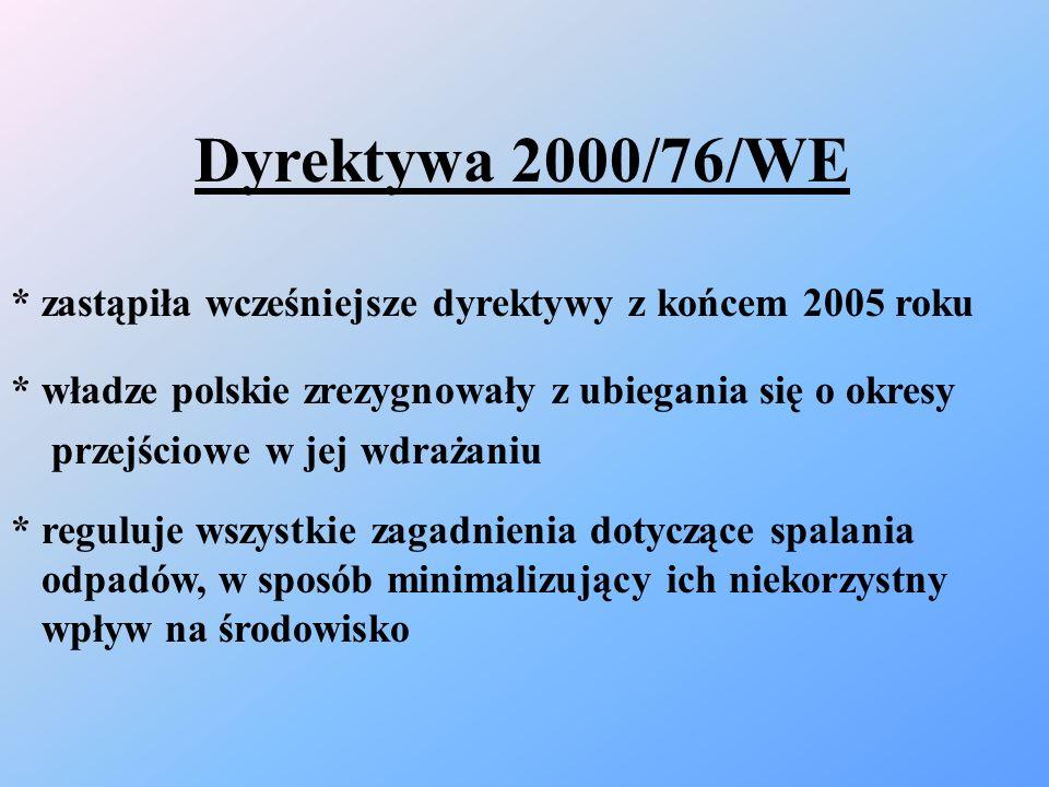 Dyrektywa 2000/76/WE * zastąpiła wcześniejsze dyrektywy z końcem 2005 roku * władze polskie zrezygnowały z ubiegania się o okresy przejściowe w jej wd