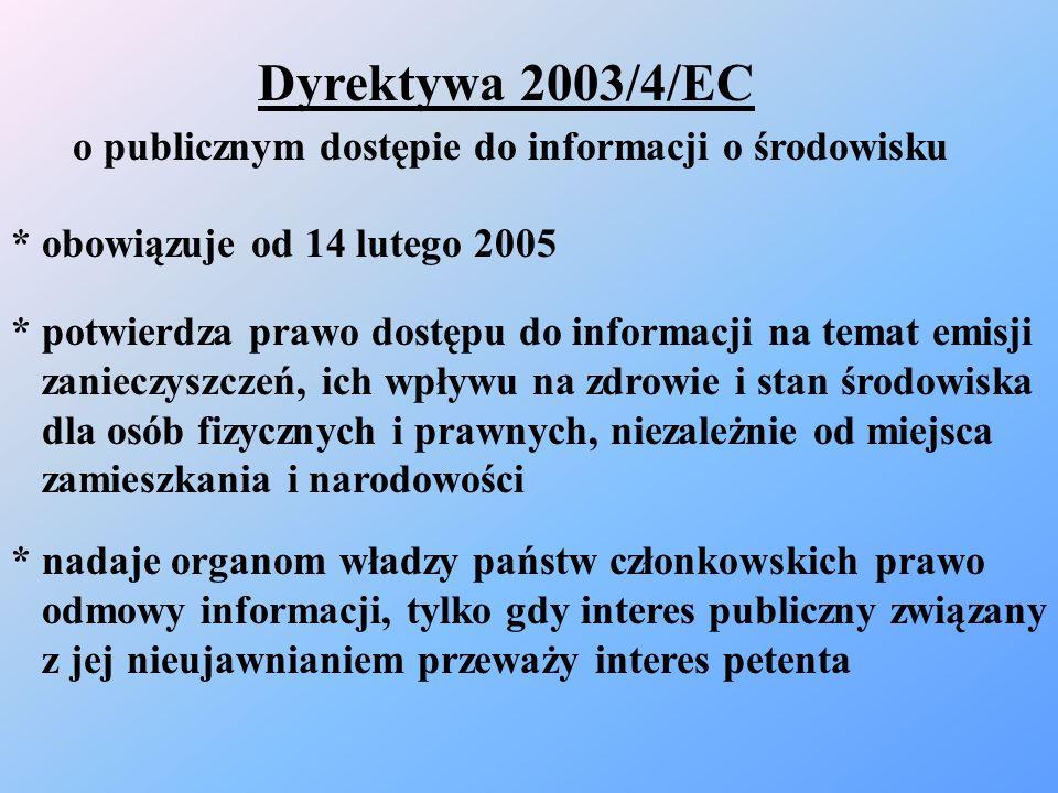 Dyrektywa 2003/4/EC o publicznym dostępie do informacji o środowisku * potwierdza prawo dostępu do informacji na temat emisji zanieczyszczeń, ich wpły