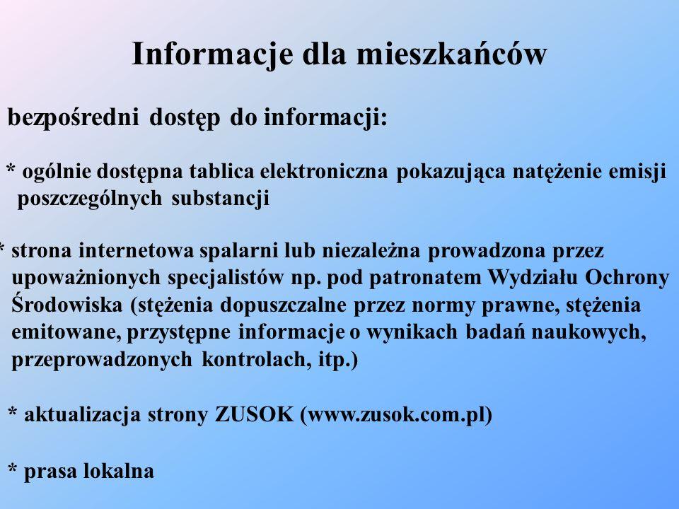 Informacje dla mieszkańców bezpośredni dostęp do informacji: * ogólnie dostępna tablica elektroniczna pokazująca natężenie emisji poszczególnych subst
