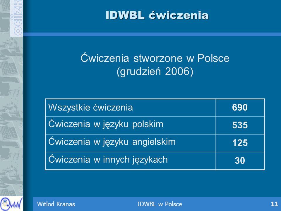 Witlod Kranas IDWBL w Polsce11 IDWBL ćwiczenia Ćwiczenia stworzone w Polsce (grudzień 2006) Wszystkie ćwiczenia690 Ćwiczenia w języku polskim 535 Ćwic
