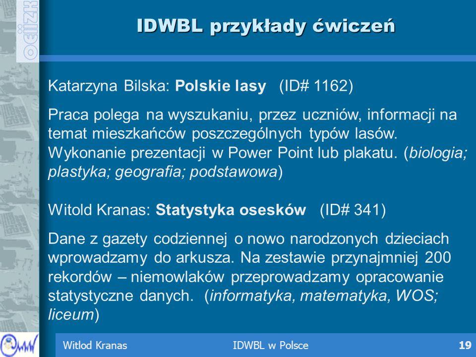 Witlod Kranas IDWBL w Polsce19 IDWBL przykłady ćwiczeń Katarzyna Bilska: Polskie lasy (ID# 1162) Praca polega na wyszukaniu, przez uczniów, informacji