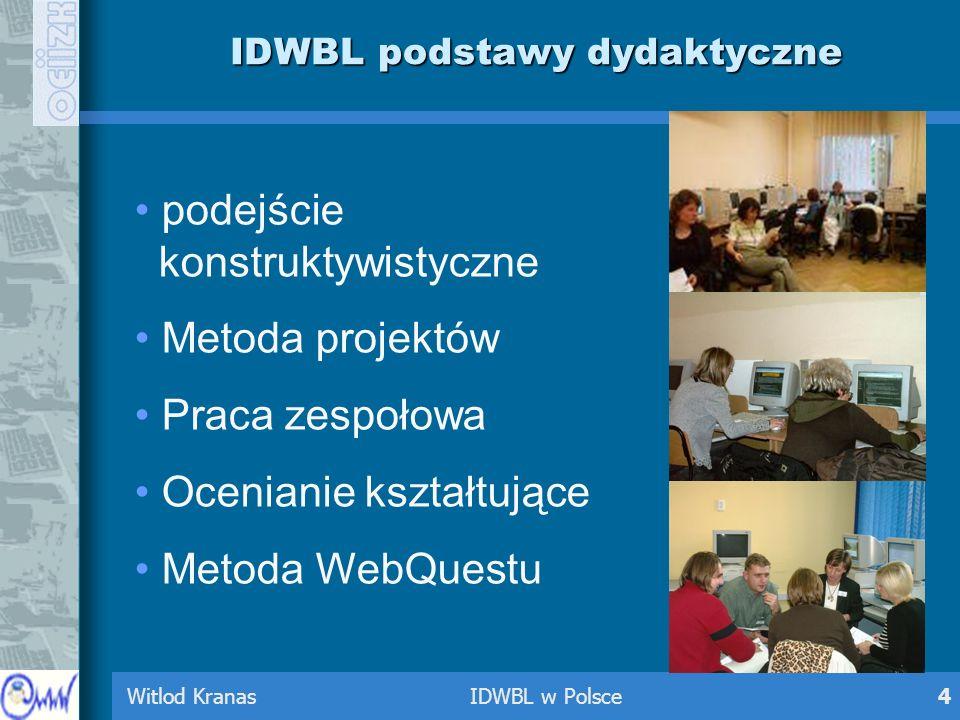 Witlod Kranas IDWBL w Polsce4 IDWBL podstawy dydaktyczne podejście konstruktywistyczne Metoda projektów Praca zespołowa Ocenianie kształtujące Metoda