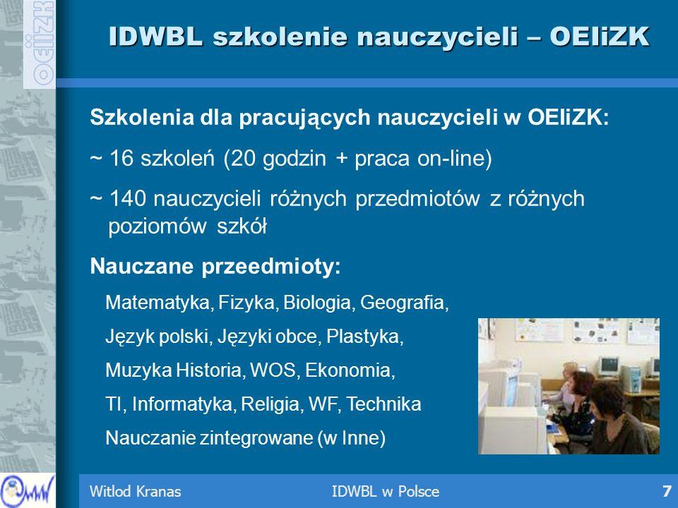 Witlod Kranas IDWBL w Polsce7 IDWBL szkolenie nauczycieli – OEIiZK Szkolenia dla pracujących nauczycieli w OEIiZK: ~ 16 szkoleń (20 godzin + praca on-