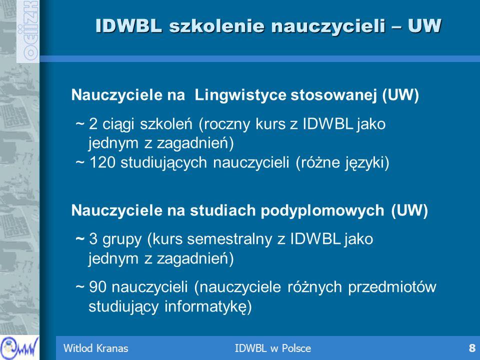 Witlod Kranas IDWBL w Polsce8 IDWBL szkolenie nauczycieli – UW Nauczyciele na Lingwistyce stosowanej (UW) ~ 2 ciągi szkoleń (roczny kurs z IDWBL jako