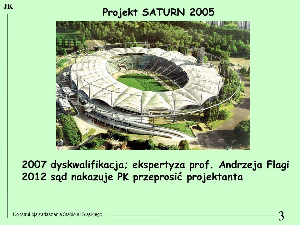 3 Konstrukcja zadaszenia Stadionu Śląskiego JK Projekt SATURN 2005 2007 dyskwalifikacja; ekspertyza prof. Andrzeja Flagi 2012 sąd nakazuje PK przepros