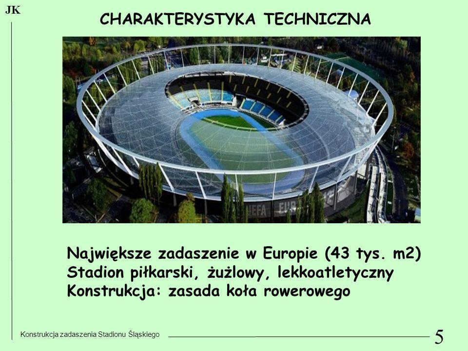 5 Konstrukcja zadaszenia Stadionu Śląskiego JK CHARAKTERYSTYKA TECHNICZNA Największe zadaszenie w Europie (43 tys. m2) Stadion piłkarski, żużlowy, lek