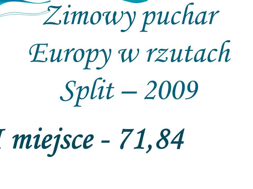 Zimowy puchar Europy w rzutach Split – 2009 I miejsce - 71,84
