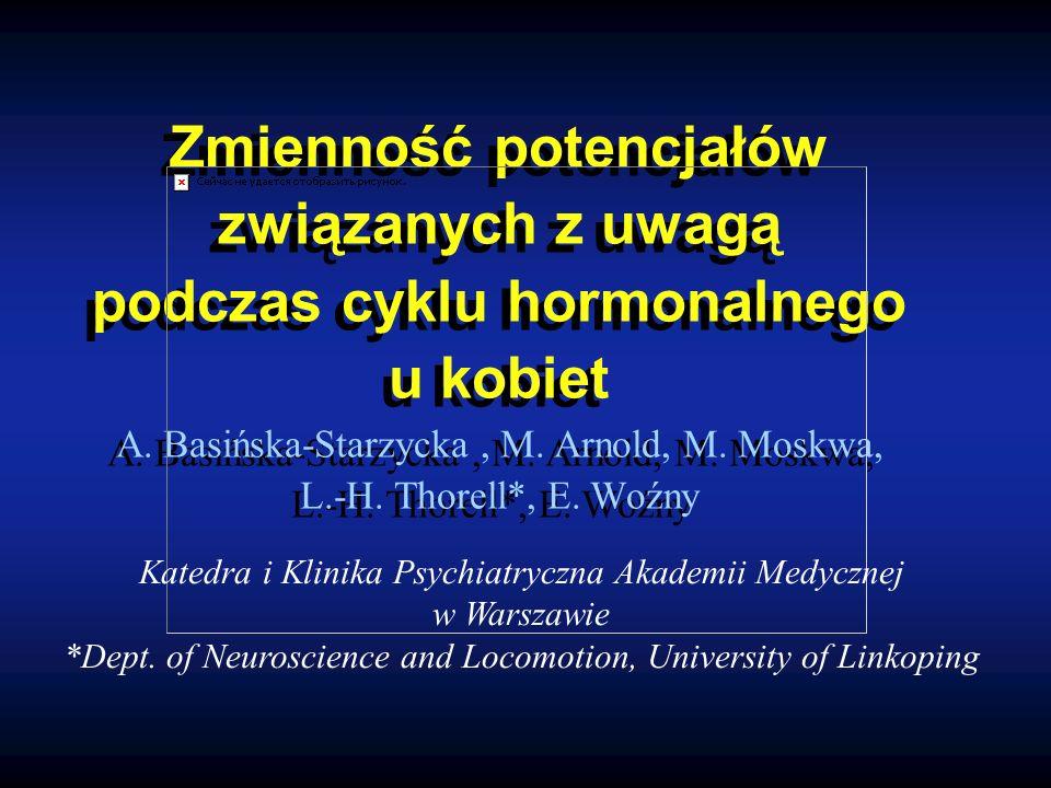 Zmienność potencjałów związanych z uwagą podczas cyklu hormonalnego u kobiet A.