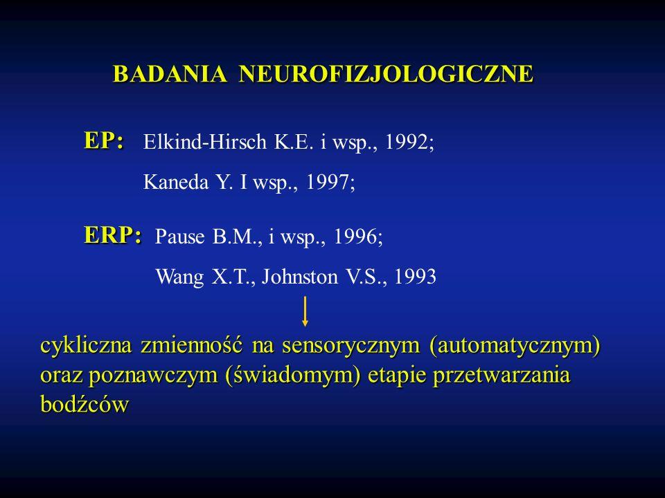 BADANIA NEUROFIZJOLOGICZNE Elkind-Hirsch K.E. i wsp., 1992; Kaneda Y.