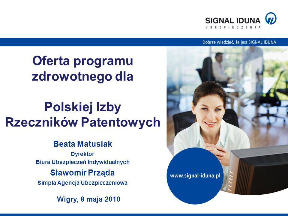 Oferta programu zdrowotnego dla Polskiej Izby Rzeczników Patentowych Beata Matusiak Dyrektor Biura Ubezpieczeń Indywidualnych Sławomir Prząda Simpla Agencja Ubezpieczeniowa Wigry, 8 maja 2010
