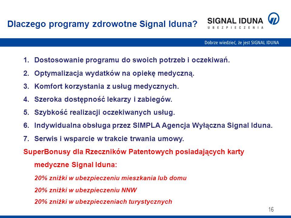 16 Dlaczego programy zdrowotne Signal Iduna? 1.Dostosowanie programu do swoich potrzeb i oczekiwań. 2.Optymalizacja wydatków na opiekę medyczną. 3.Kom