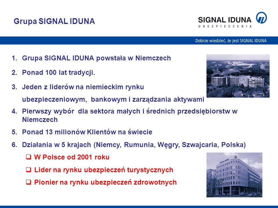 Grupa SIGNAL IDUNA 1.Grupa SIGNAL IDUNA powstała w Niemczech 2.Ponad 100 lat tradycji. 3.Jeden z liderów na niemieckim rynku ubezpieczeniowym, bankowy