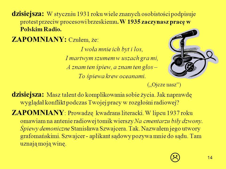 dzisiejsza: W styczniu 1931 roku wiele znanych osobistości podpisuje protest przeciw procesowi brzeskiemu. W 1935 zaczynasz pracę w Polskim Radio. ZAP