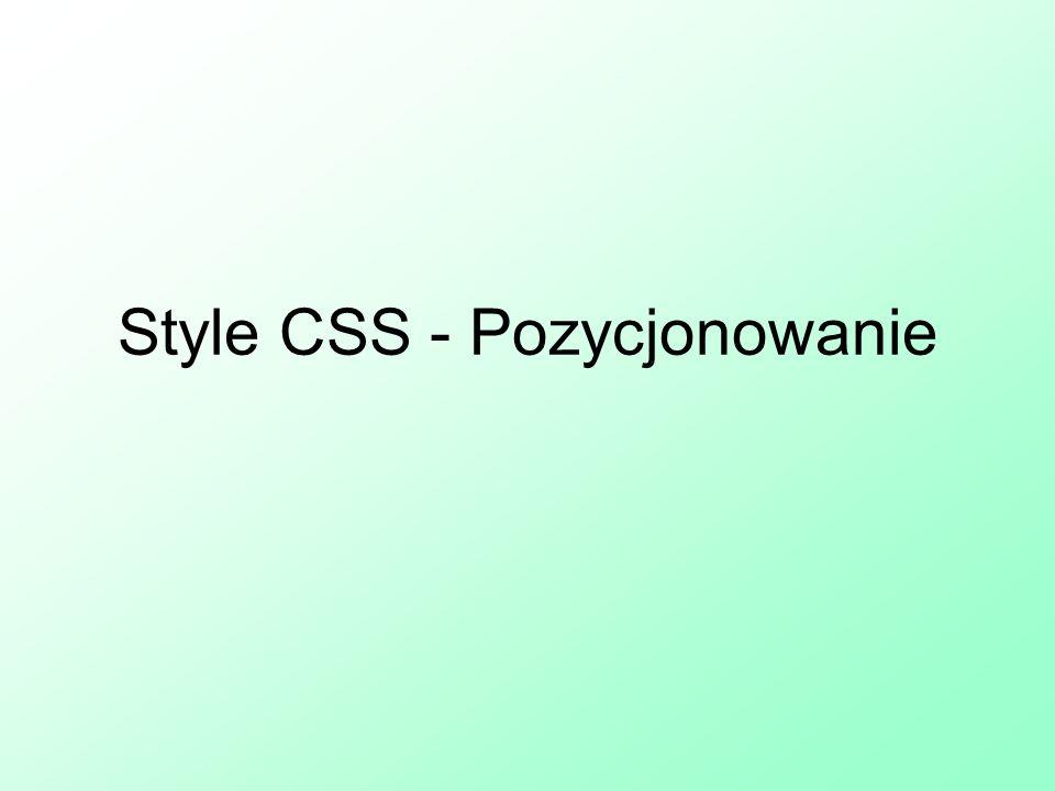 Style CSS - Pozycjonowanie