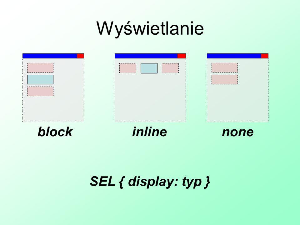 Wyświetlanie blockinlinenone SEL { display: typ }