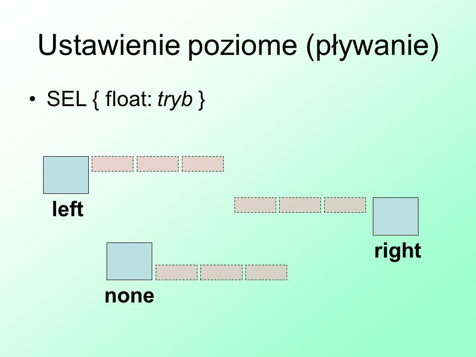 Ustawienie poziome (pływanie) SEL { float: tryb } left right none
