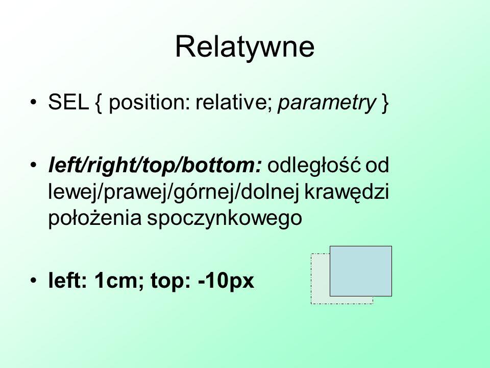 Absolutne SEL { position: absolute; parametry } left/right/top/bottom: odległość od lewej/prawej/górnej/dolnej krawędzi strony left: 1cm; bottom: 30px