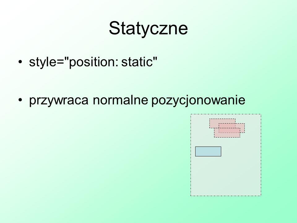 Nakładanie SEL { position: typ; parametry; z-index: nr} ustalenie kolejności nakładania się <IMG style= position: relative; right: 20px; top: -20px; z-index: 2 SRC=Y > X Y