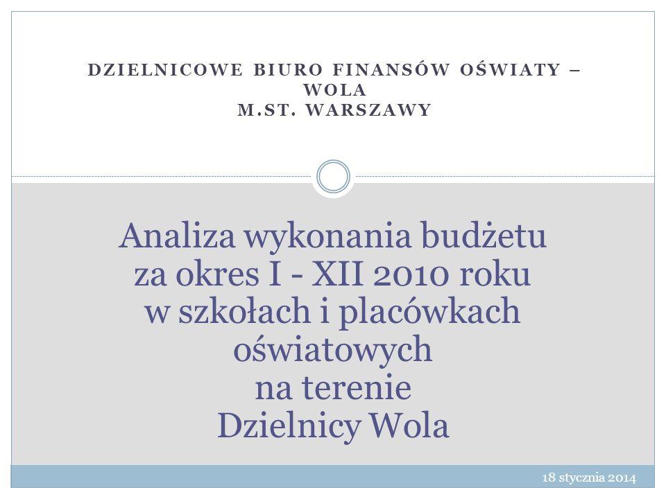 Analiza wykonania budżetu za okres I - XII 2010 roku w szkołach i placówkach oświatowych na terenie Dzielnicy Wola DZIELNICOWE BIURO FINANSÓW OŚWIATY – WOLA M.ST.